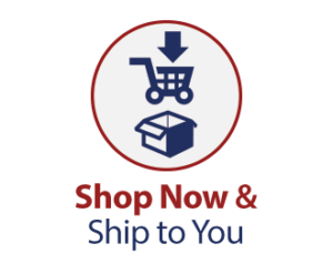Shop Now & Ship to You. Image of a shopping cart and a shipping box in a circle.