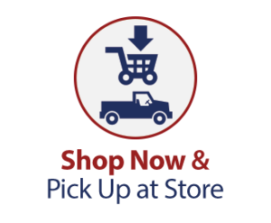 Shop Now & Pick Up at Store. Image of a shopping card with a truck below it inside a circle.