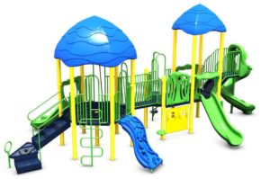 Blue, yellow and green playground equipment with several shade covers, slides, stairs, and other play features