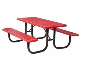 Classic red picnic table with comfortable vinyl coating and attached benches
