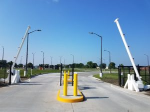 High security access control including barrier arms at Camp Dodge, Iowa National Guard