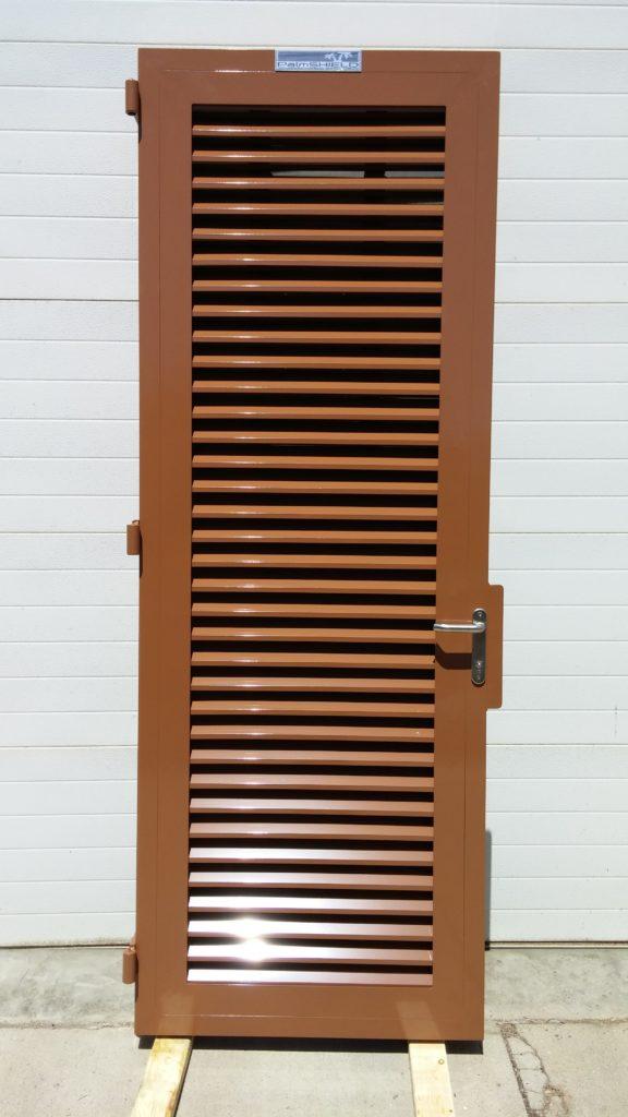 Brown powder coated industrial pedestrian gate with lock and door handle